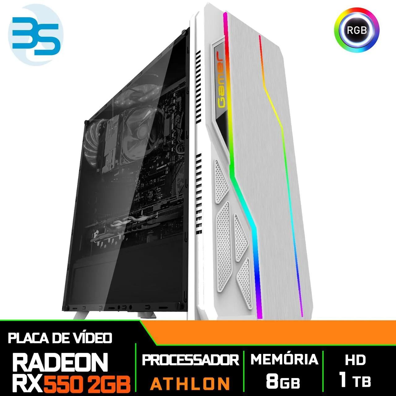 Computador Gamer Athlon 3000G, Radeon RX 550 2GB, 8GB DDR4, HD 1TB, 400W