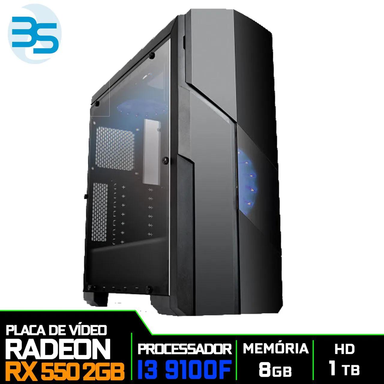Computador Gamer Intel i3 9100F, 8GB DDR4, HD 1TB, 500W, RX 550 2GB