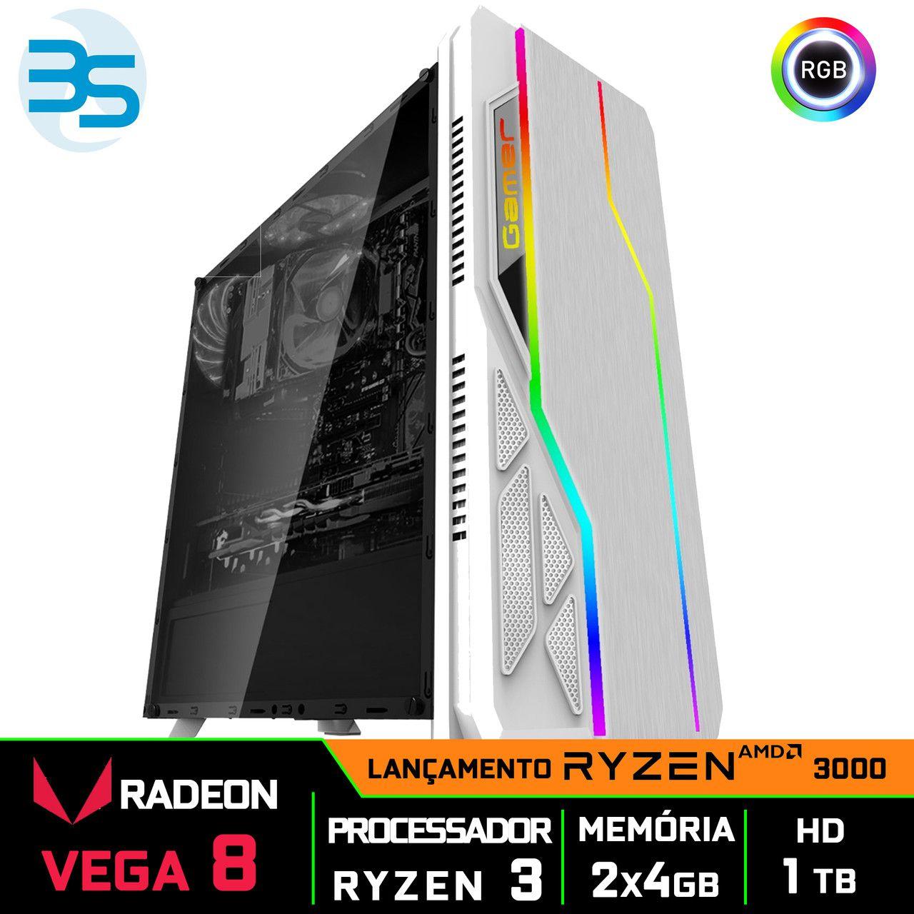 Computador Gamer Ryzen 3 3200G, 8GB DDR4, HD 1TB, 500W, BG-009