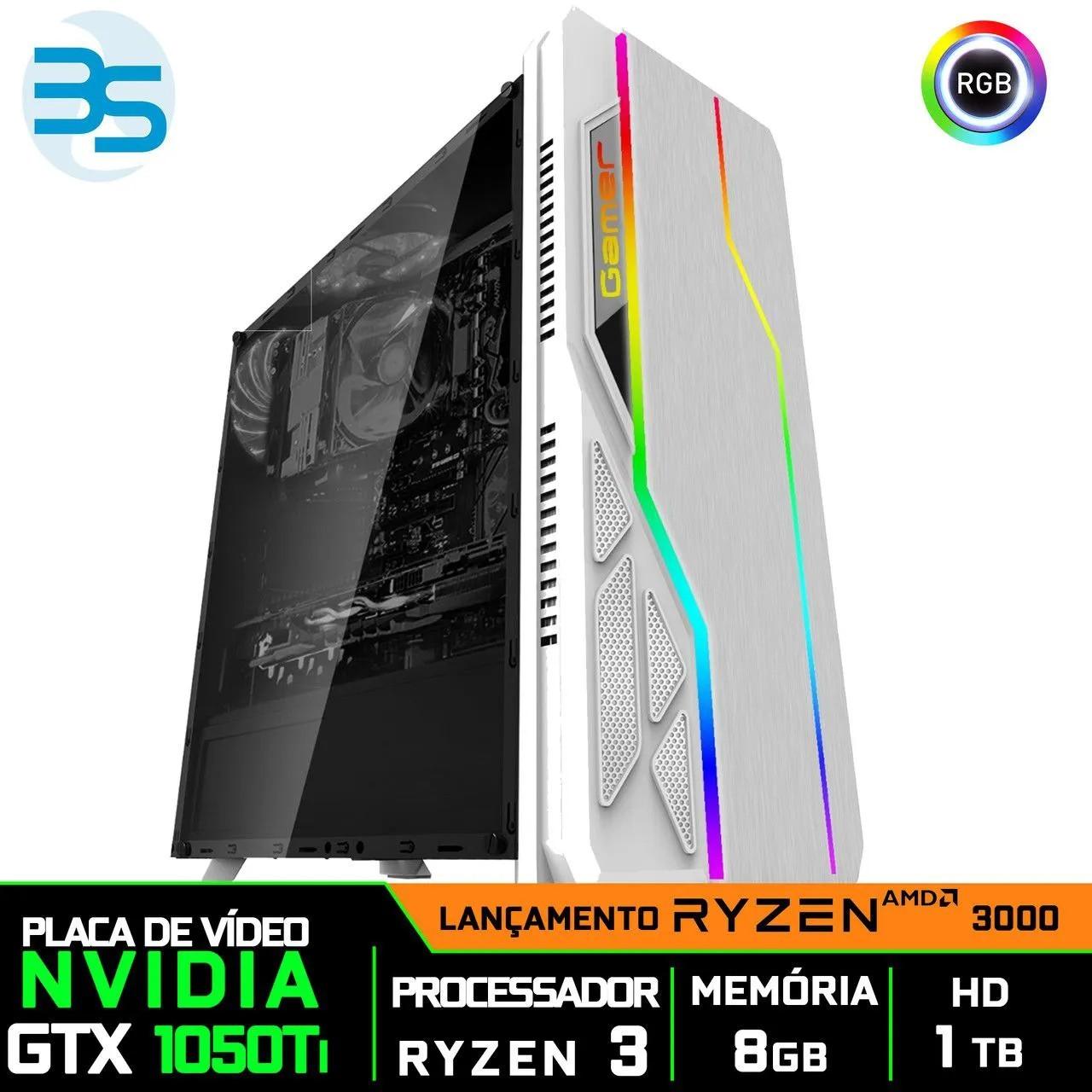 Computador Gamer Ryzen 3 3200G, Nvidia GTX 1050Ti 4GB, 8GB DDR4, HD 1TB, 500W