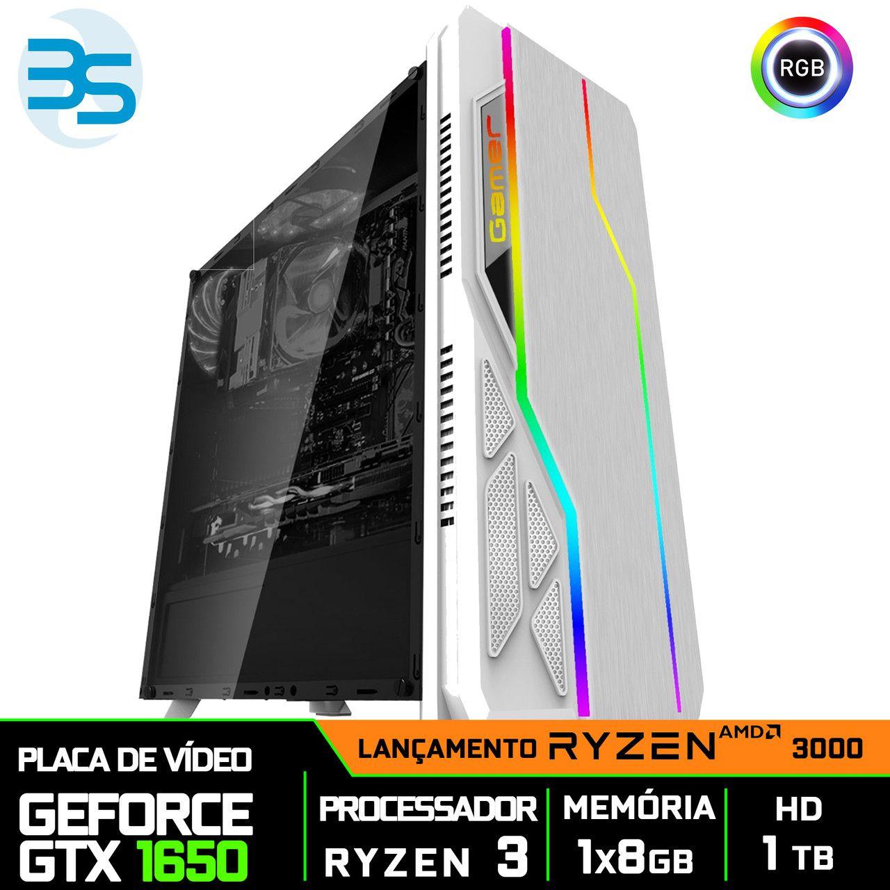 Computador Gamer Ryzen 3 3200G, Nvidia GTX 1650 4GB, 8GB DDR4, HD 1TB, 500W
