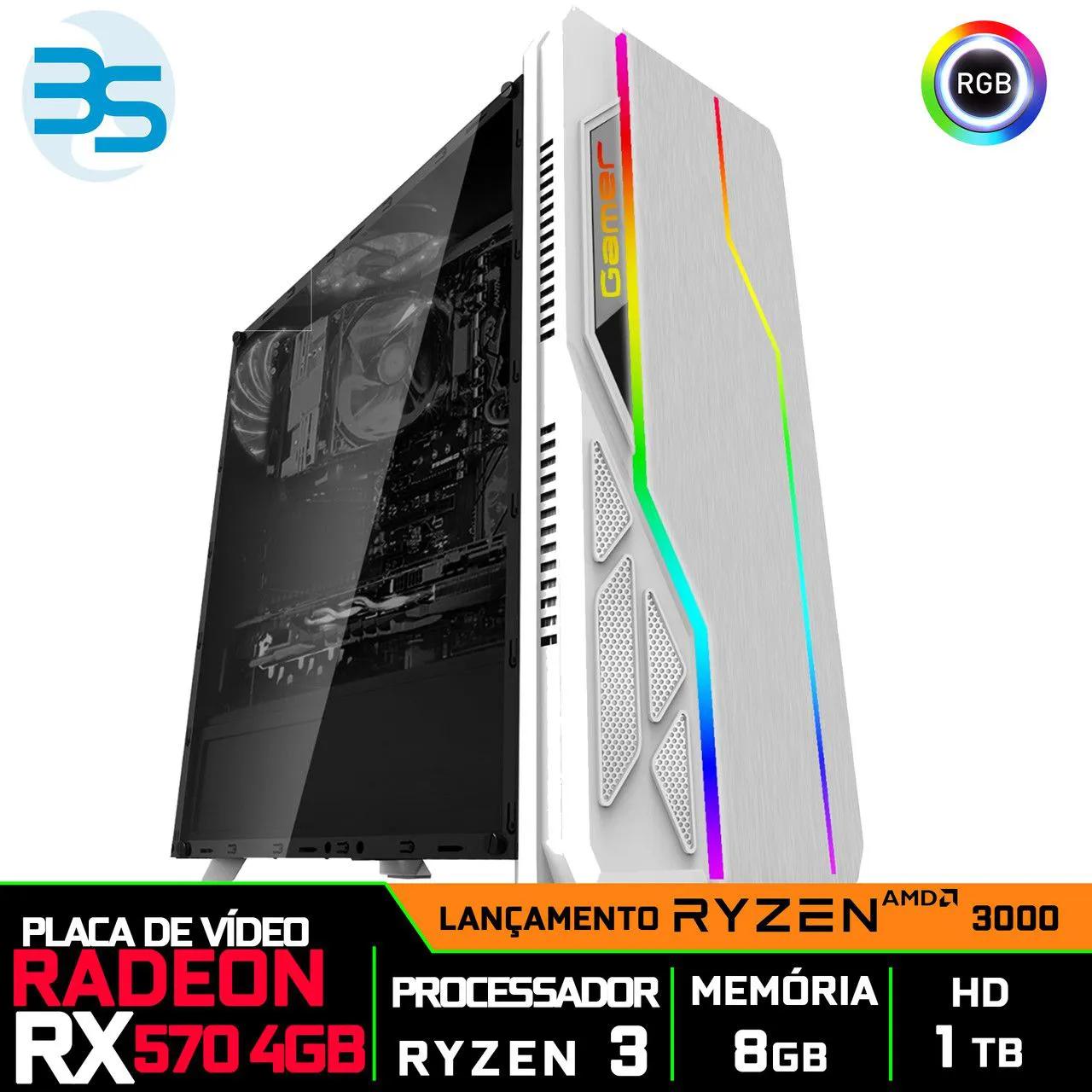 Computador Gamer Ryzen 3 3200G, Radeon RX 570 4GB, 8GB DDR4, HD 1TB, 500W