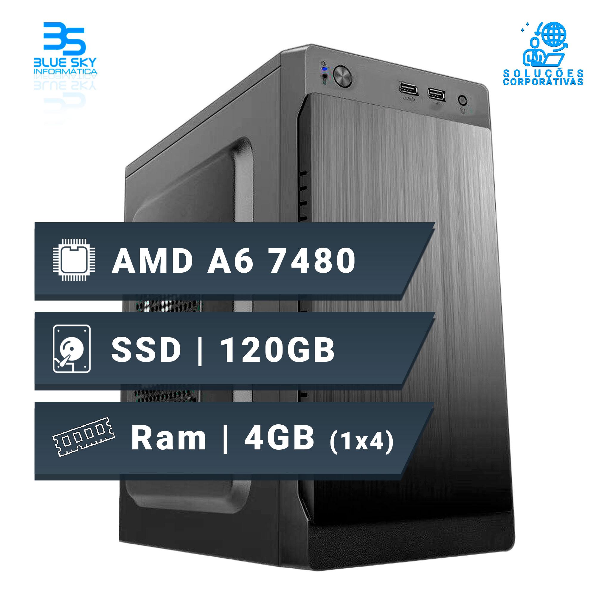 Computador Office AMD A6 7480, Ssd 120GB, 4GB DDR3, 200W