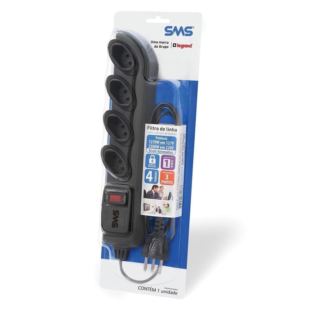 Filtro de Linha 4 Tomadas 4 Níveis de Proteção Bivolt 3m Preto 62329 1 UN SMS
