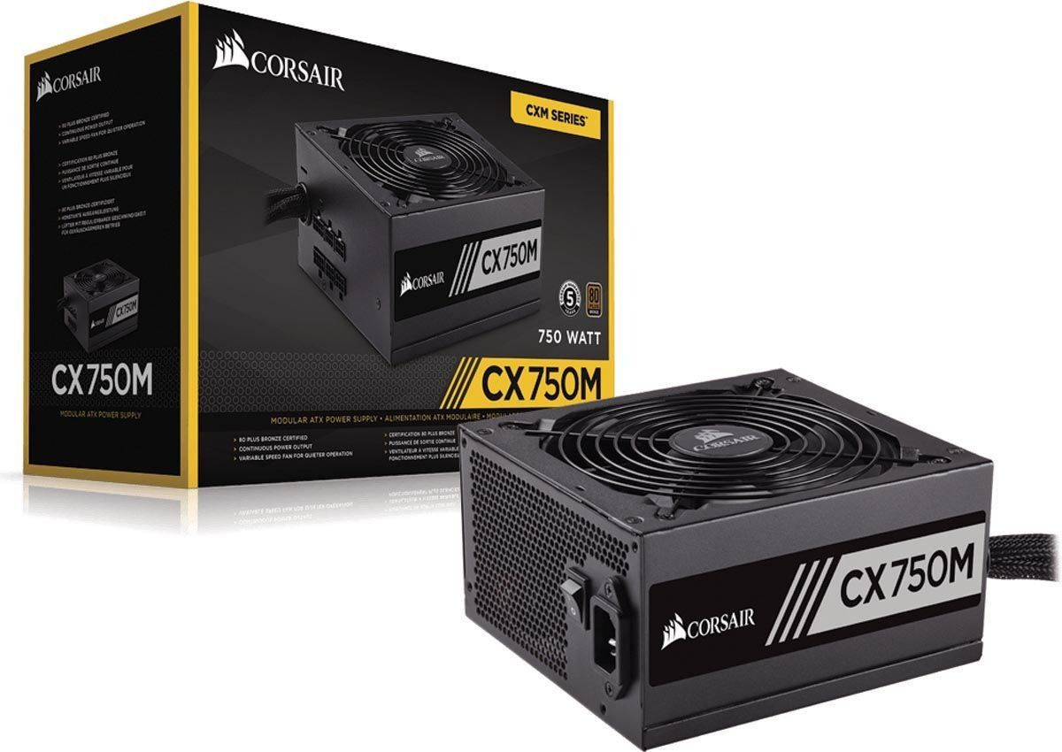 Fonte Corsair CX750M Semi Modular 80Plus Bronze - CP-9020061-WW