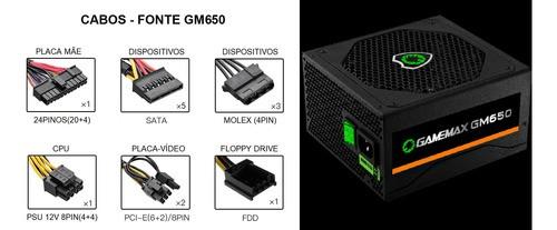 Fonte GameMax GM650 650W 80 Plus Bronze PFC Ativo Preto