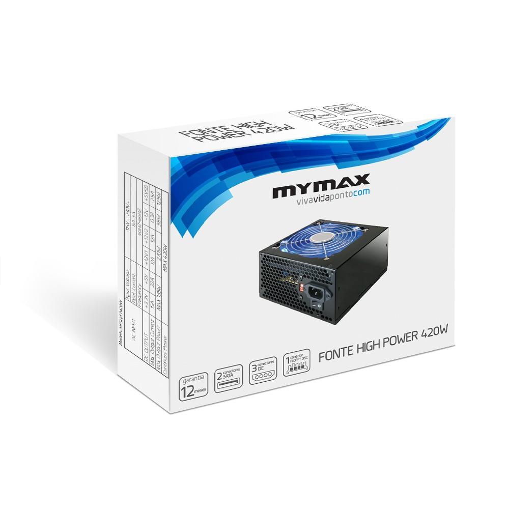 Fonte Mymax 420W ATX Preta MPSU/FP420W