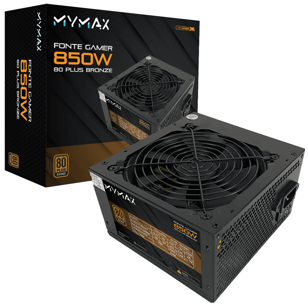 Fonte MyMax ATX 850W 80 Plus Bronze - PFC Ativo (MPSU/FP850W)