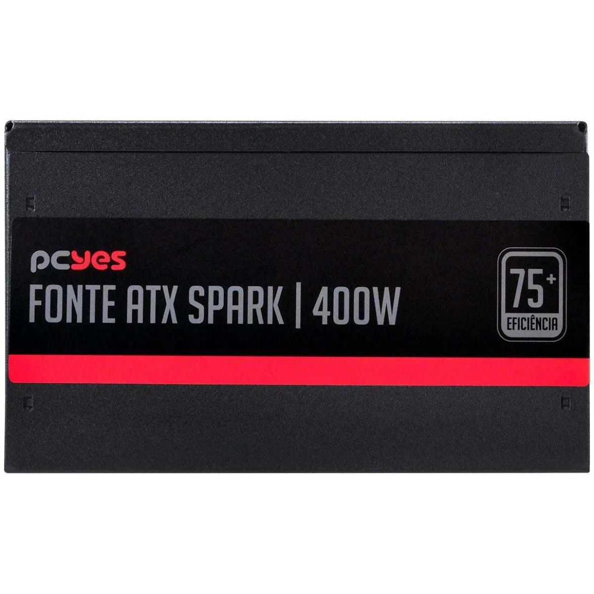Fonte PcYes 400W 75+ Eficiência PCF Ativo Spark PXSP400WPT