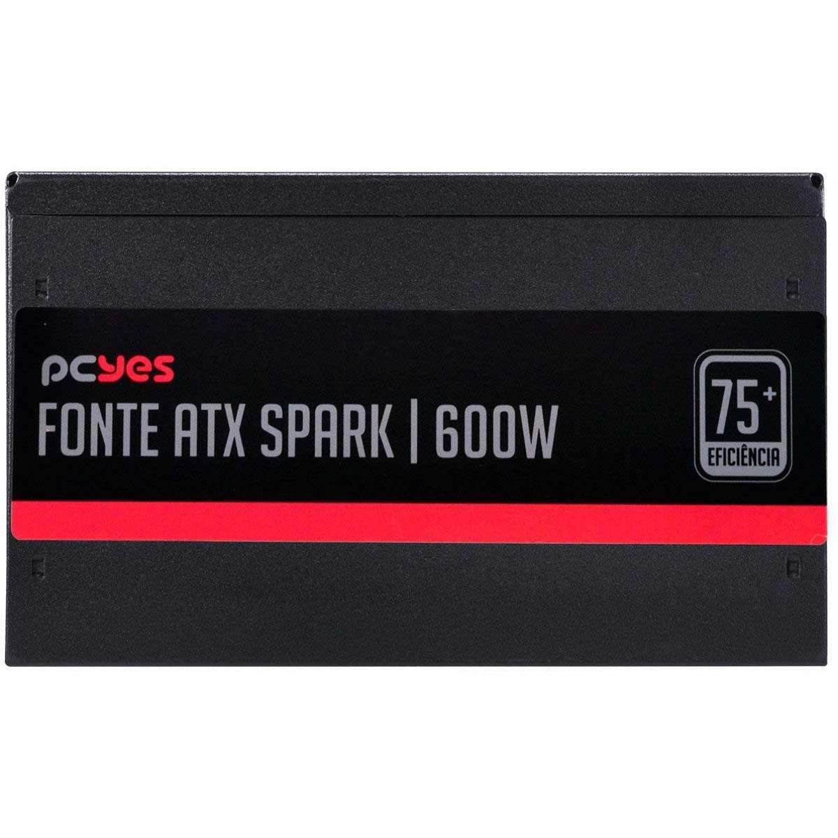 Fonte PCYES Spark 600W, Eficiência 75+, PFC Ativo PXSP600WPT