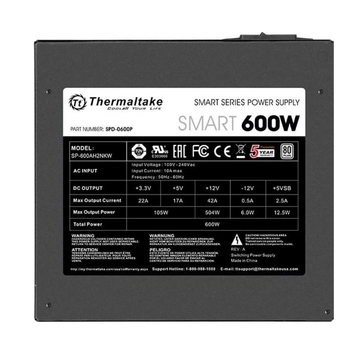 Fonte Thermaltake 600W 80 Plus White PFC Ativo PS-SPD-0600NPCWBZ-W