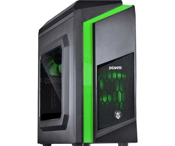 Gabinete Gamer Dwarf Preto/Verde Lateral Acrilico - Pcyes