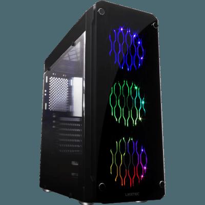 Gabinete Gamer Liketec RUTILE RGB Mid Tower Frontal Vidro Temperado PRETO S/FONTE