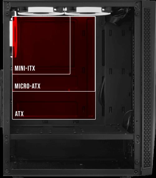 Gabinete Gamer PCYes Vector Mid Tower RGB c/ Fans Lateral em Vidro - VCPTRGB3FV