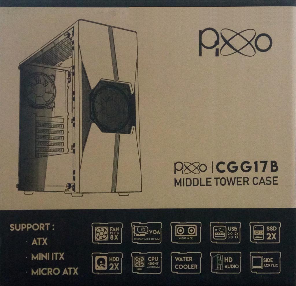 Gabinete Gamer Pixxo CGG17B RGB Lateral Acrilico C/ 2 Fans USB 3.0