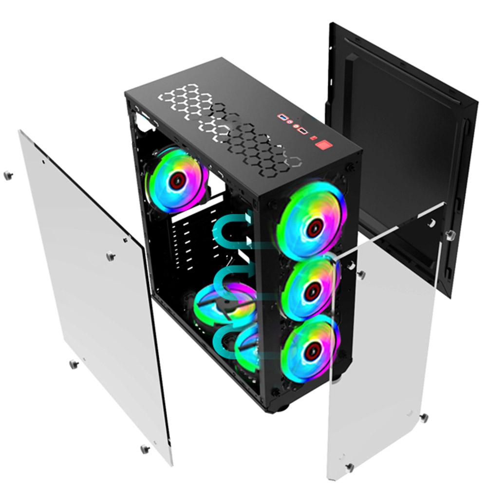 Gabinete Gamer Vulcano Mid Tower S/Fan Usb 3.0 MCA-Vulcano/Bk