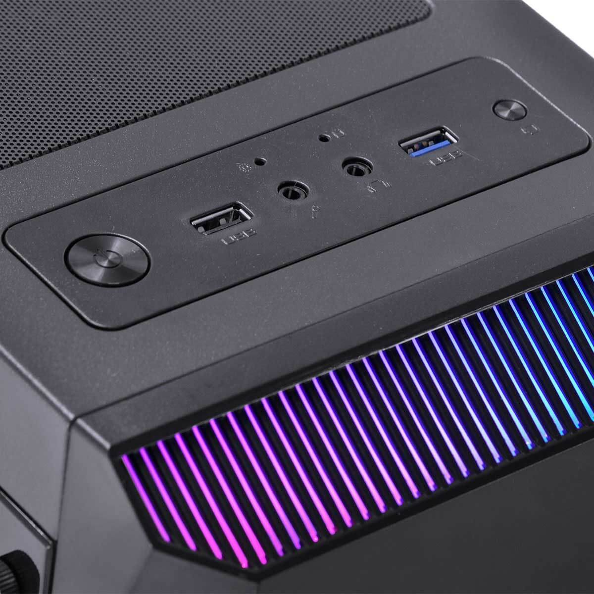 Gabinete Gamer VX Borealis Gaming  RGB Vinik Lateral em Acrílico Sem Fonte Com 1 Fan - Mid Tower