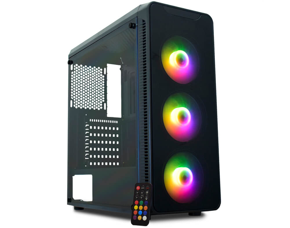Gabinete K-Mex Gamer Infinity A1 CG-A1G8 c/ coolers led RGB USB 3.0