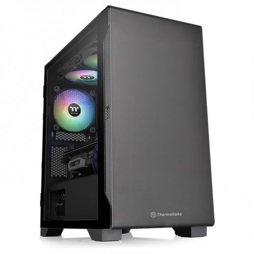 Gabinete Thermaltake Versa S100 TG Black Mini Tower Vidro Temperado Black ATX Sem Fonte Com 1 Fan CA-1Q9-00S1WN-00