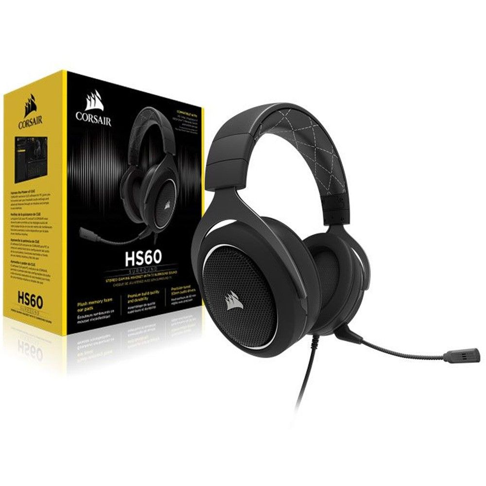 Headset HS60 Gamer Corsair 7.1 USB Preto Branco CA-9011174-NA