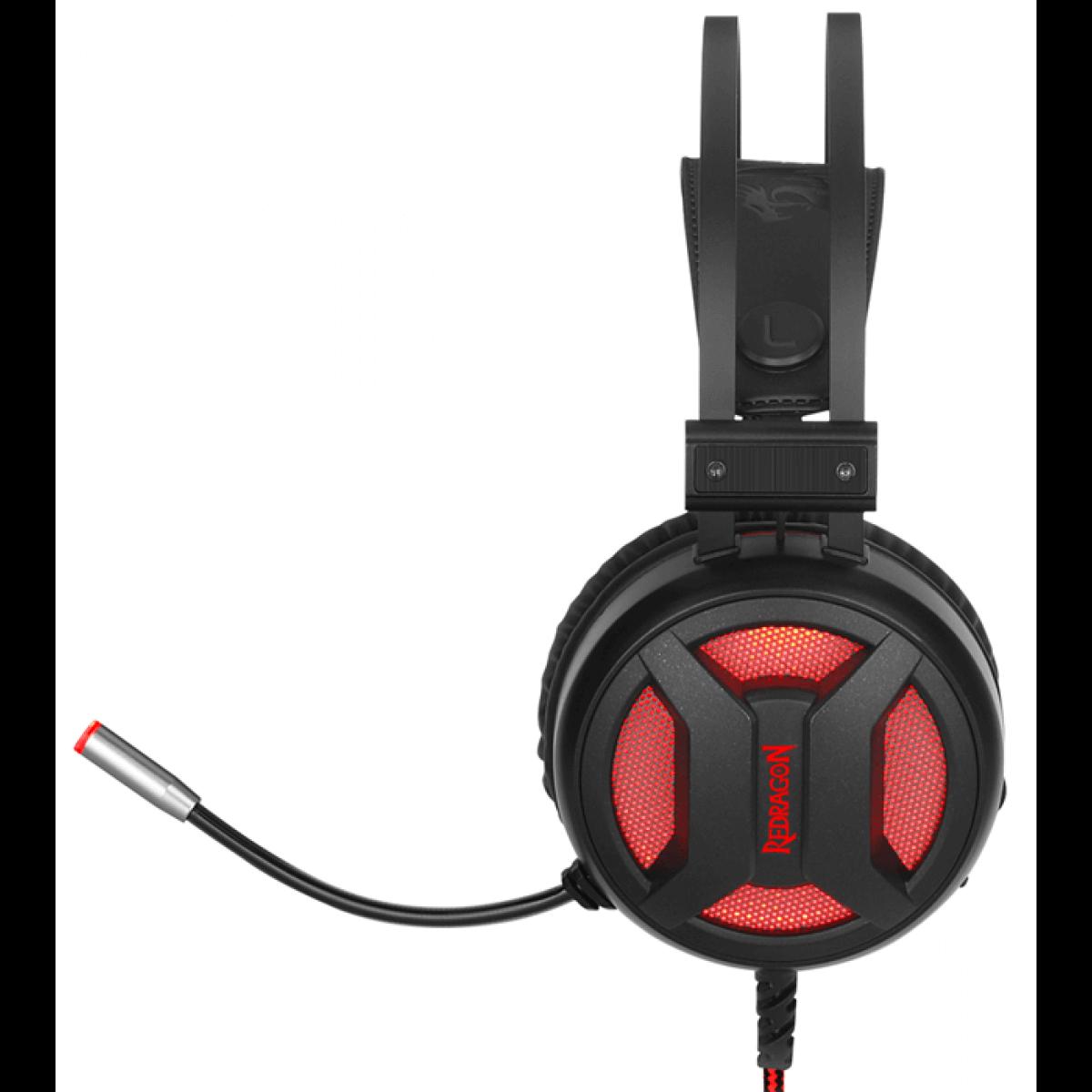 Headset Redragon USB Surround 7.1 Led Minos H210 Preto/Vermelho