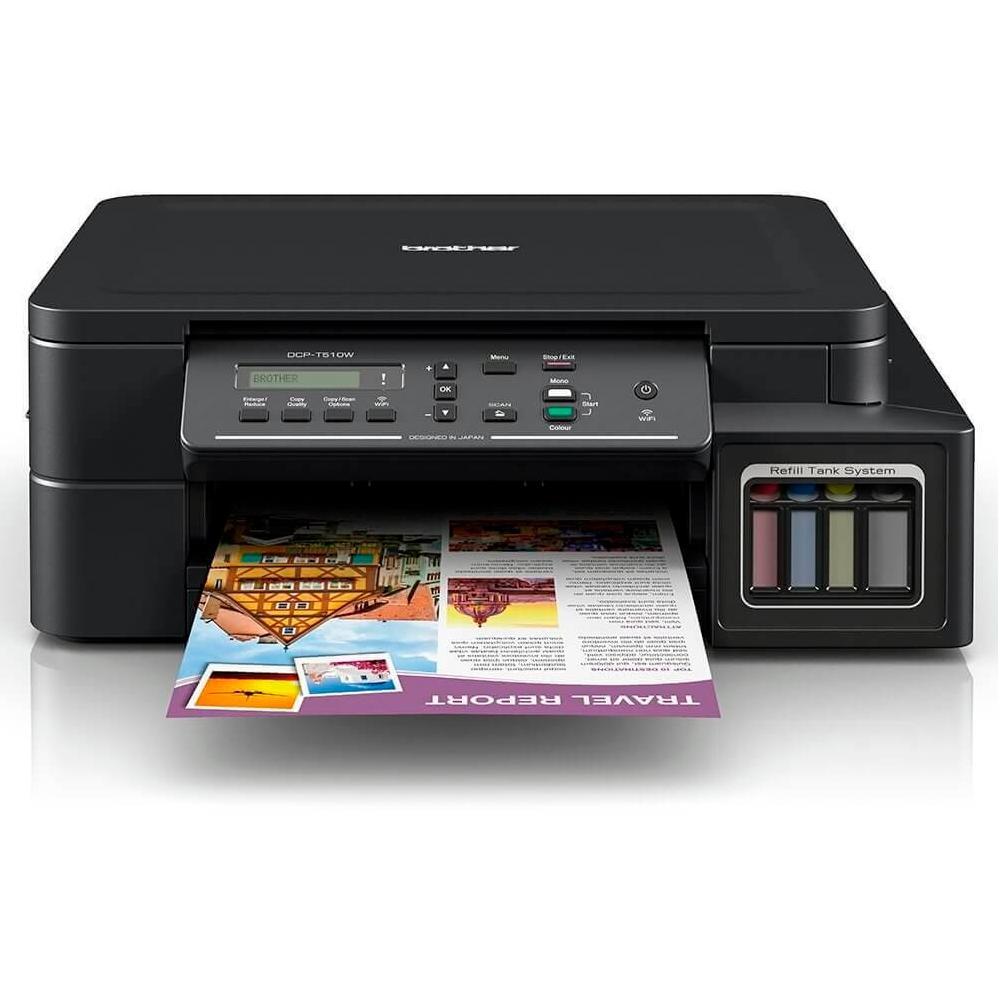 Impressora Multifuncional Brother T510W Jato de Tinta Color Wifi 110v DCP-T510W