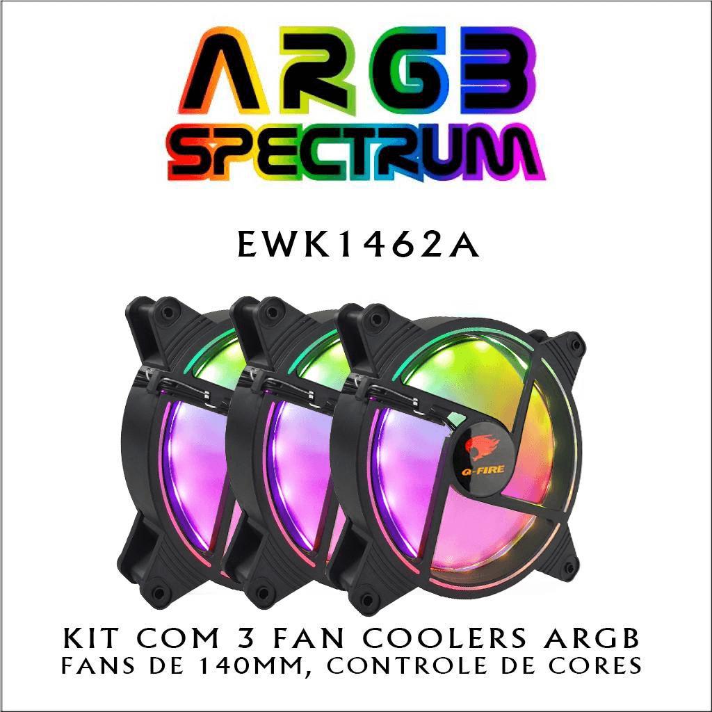 Kit 3 Cooler RGB Fan GFIRE 140mm Spectrum ARGB ewk1462a