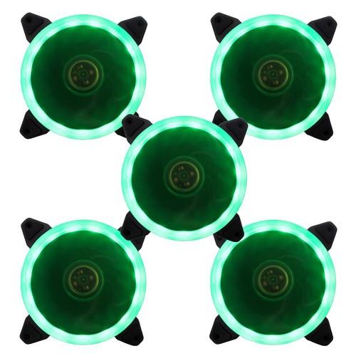 Kit 5 Cooler Ventoinha Bluecase Fan Ring BlueCase 12CM Verde BFR-05G