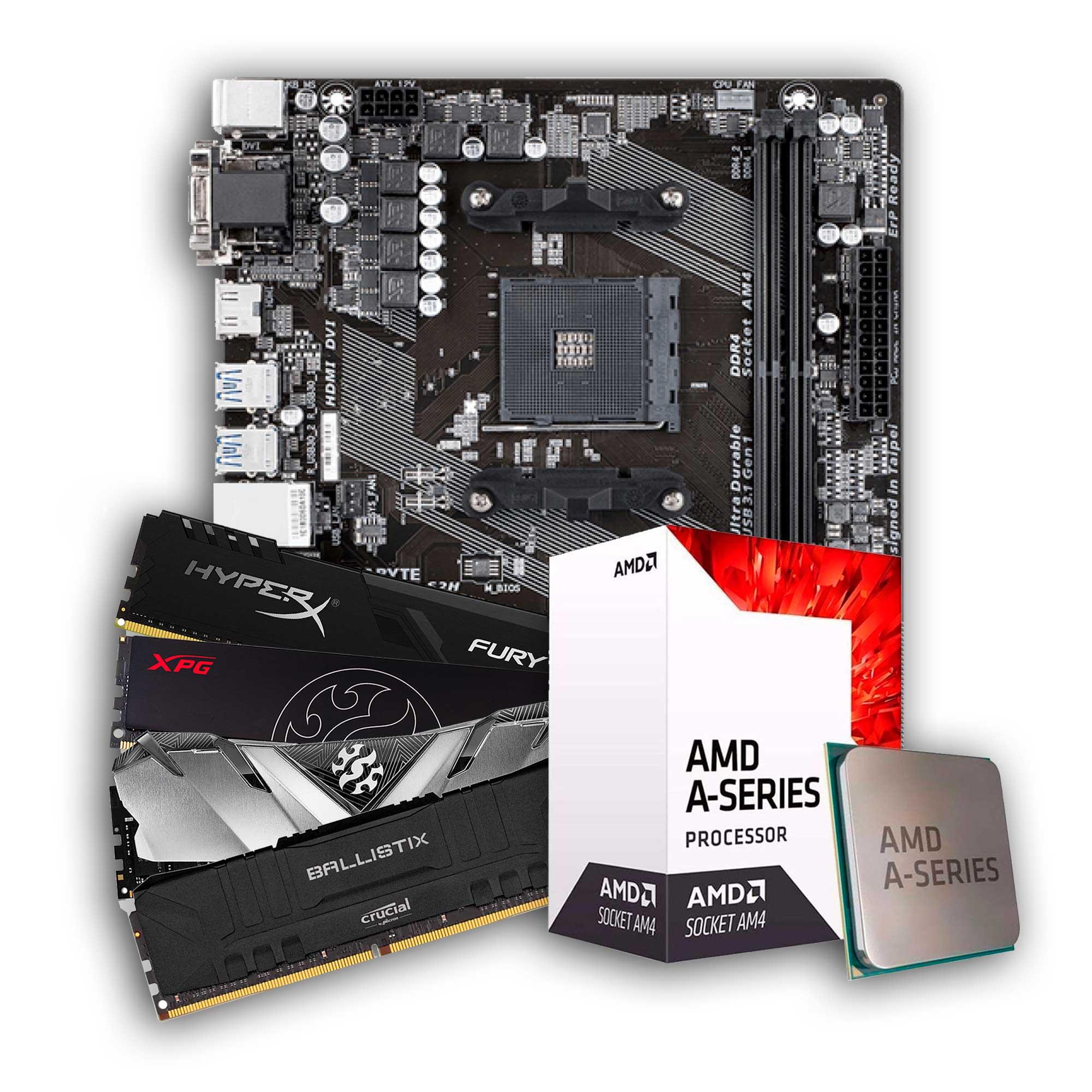Kit Upgrade, AMD A6 9500, Placa Mãe A320M, Memória DDR4 8GB 2666MHz