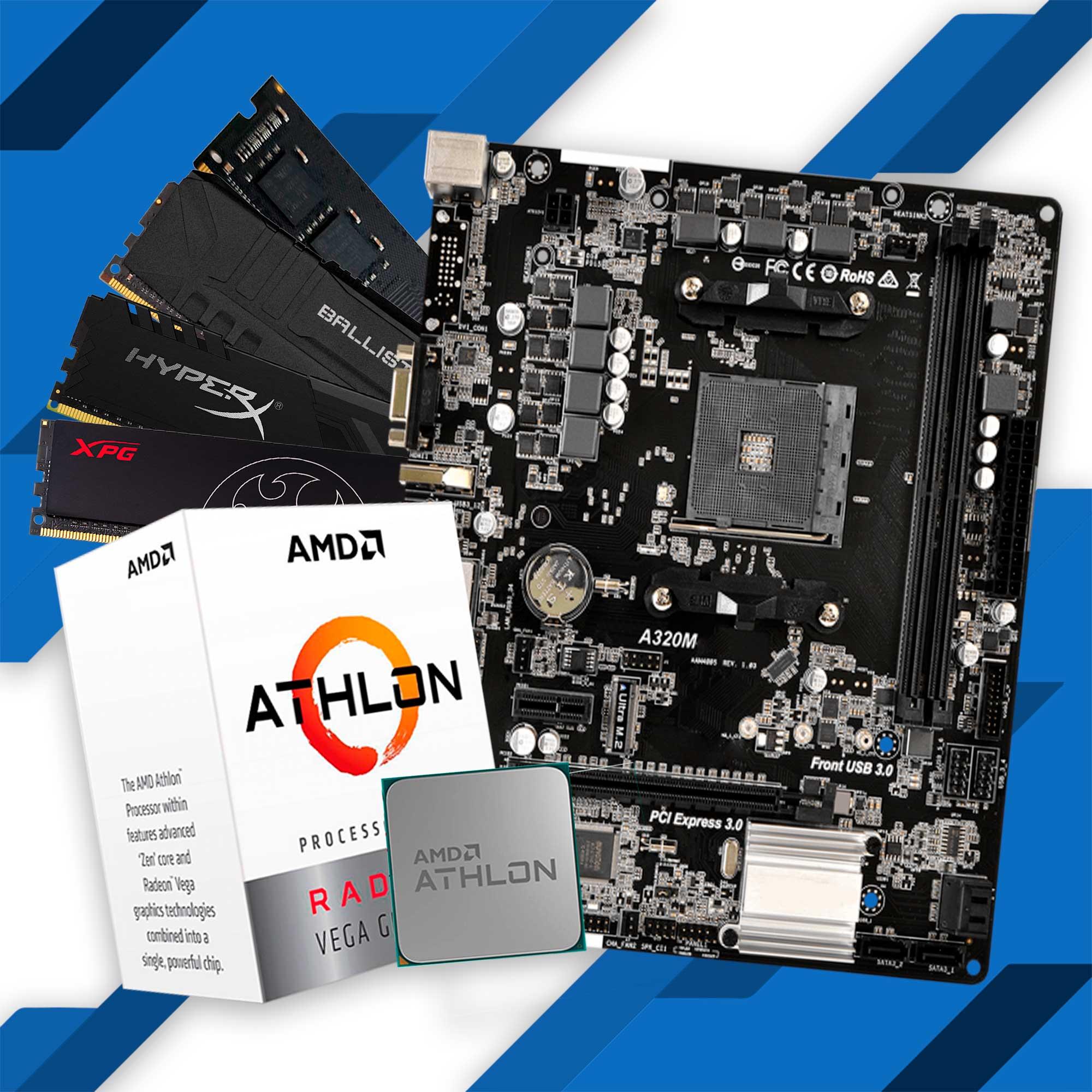 Kit Upgrade, Athlon 3000G, Placa Mãe A320M, Memória DDR4 8GB 2666MHz