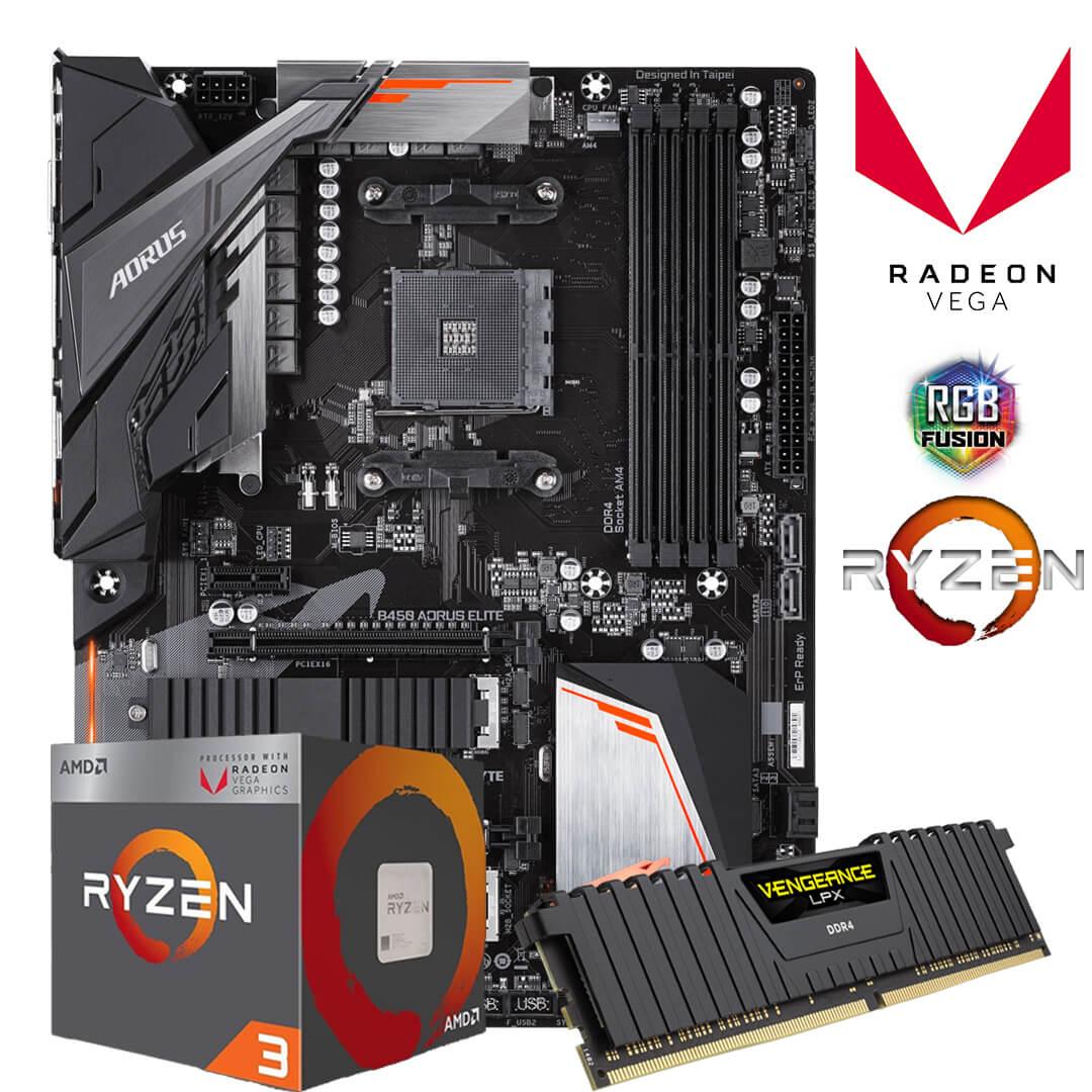 Kit Upgrade Gamer B450 Aorus Elite + Ryzen 3 2200G + 8GB DDR4