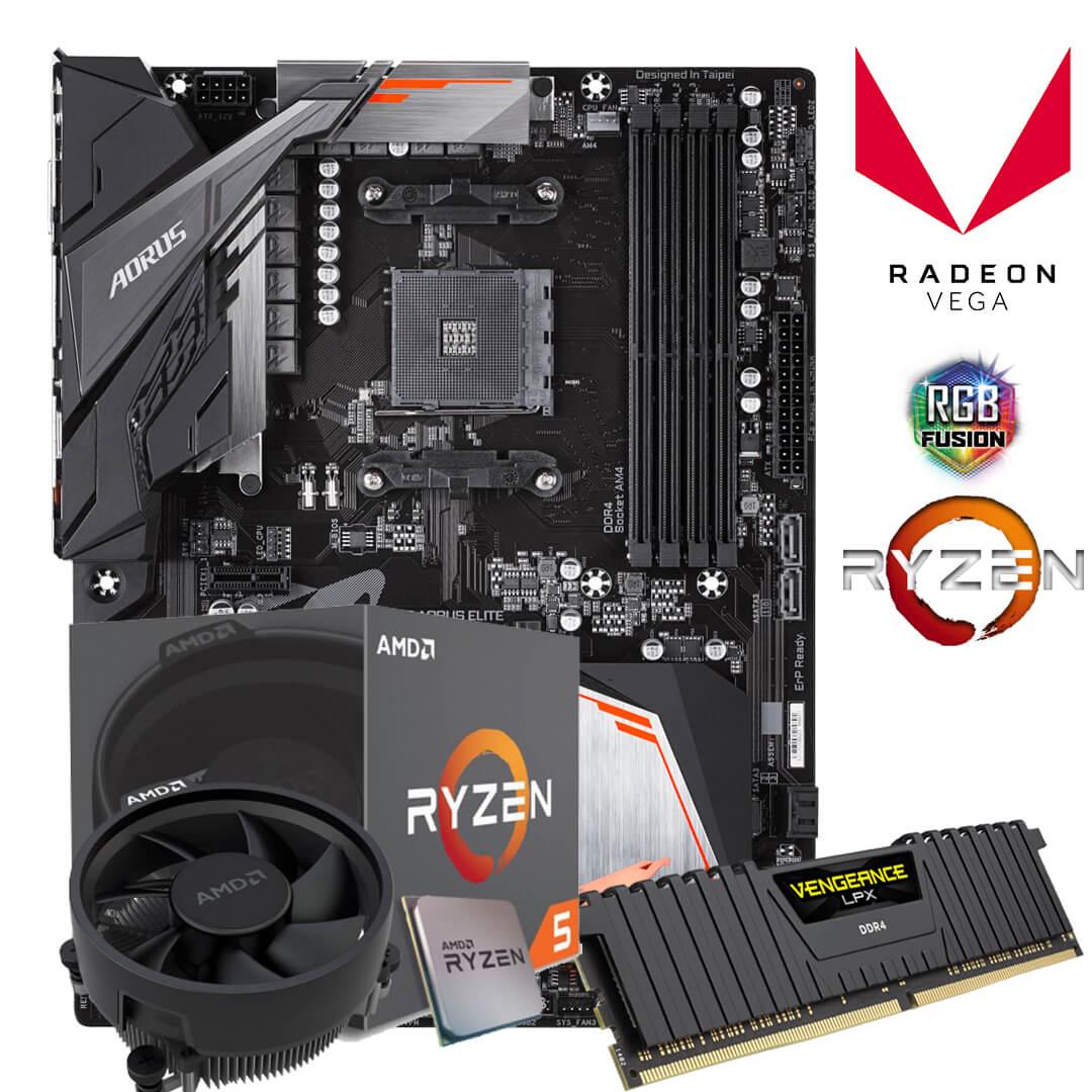 Kit Upgrade Gamer B450 Aorus Elite + Ryzen 5 2600 AM4 + 8GB DDR4