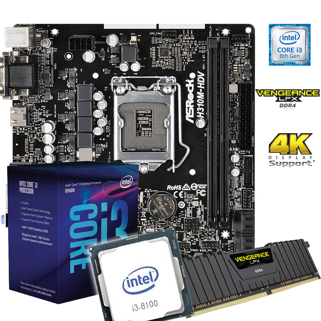 Kit Upgrade Gamer H310M HDV 1151 + Processador i3 8100 + 8GB DDR4
