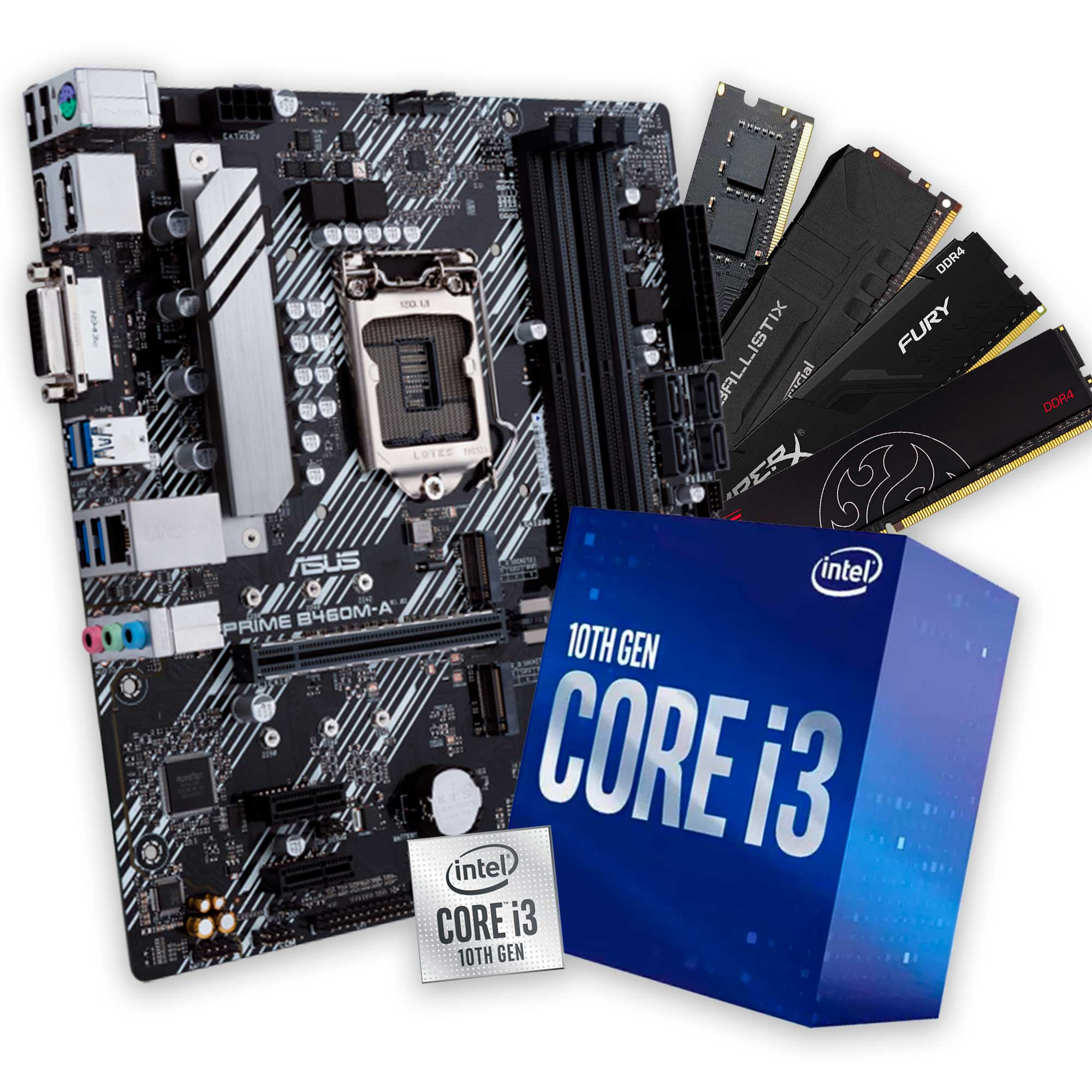 Kit Upgrade, Intel Core i3 10100F, Placa mãe Asus H410M-E, Memória DDR4 8GB 2666MHz