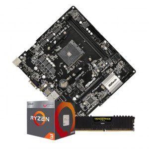 Kit Upgrade Placa mãe Asrock A320HD DDR4 + Processador Ryzen 3 2200G 3.5GHz + Memória de 8GB DDR4