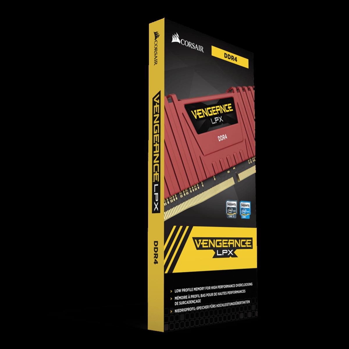 Memoria Corsair Vengeance 8GB 2400MHZ DDR4 LPX VERMELHA CMK8GX4M1A2400C14R