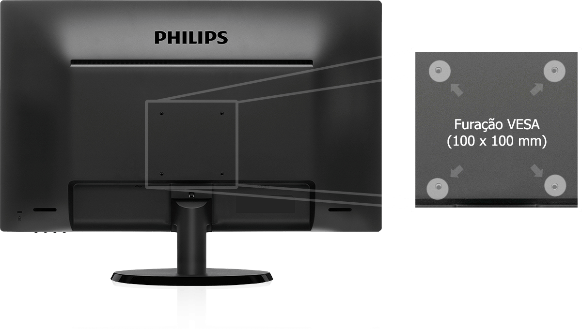 Monitor Philips 21,5 LED Widescreen FULL HD HDMI / VGA 223V5LHSB2