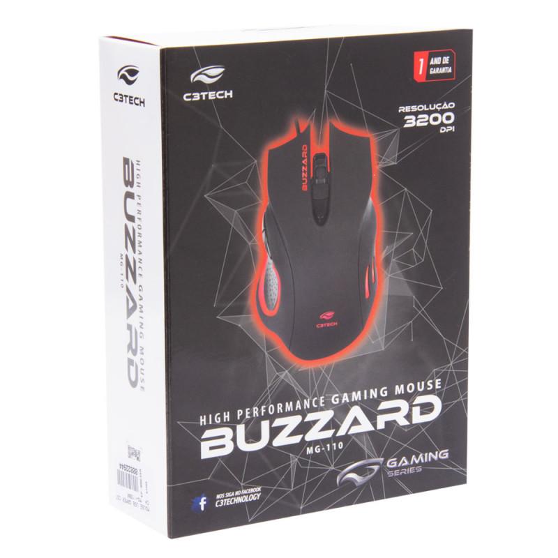 Mouse Gamer Buzzard 3200Dpi Led Com 6 Botões - C3 Tech MG-110BK