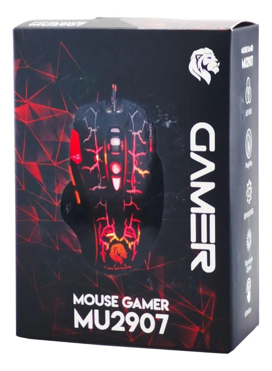 Mouse Gamer Hayom MU2907 3200DPI 8 Botões Preto com LED RGB