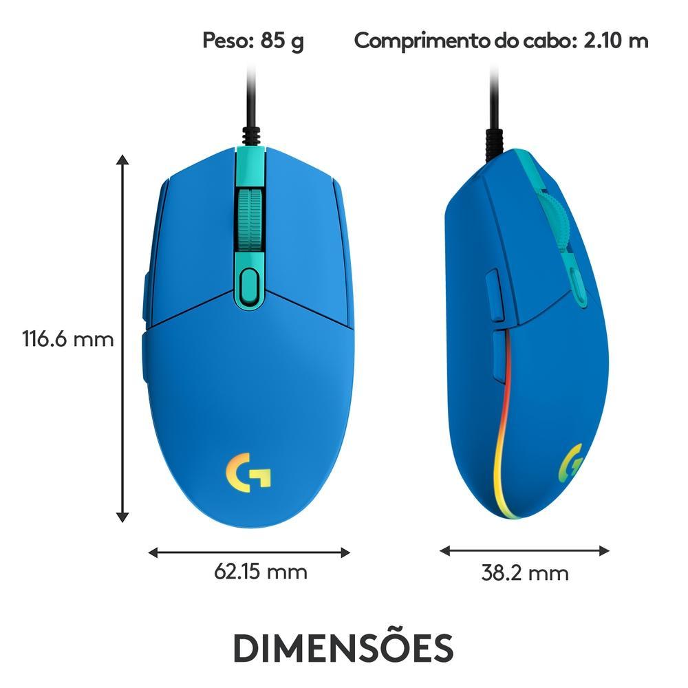 Mouse Gamer Logitech G203 RGB 8000DPI 6 Botoes Azul