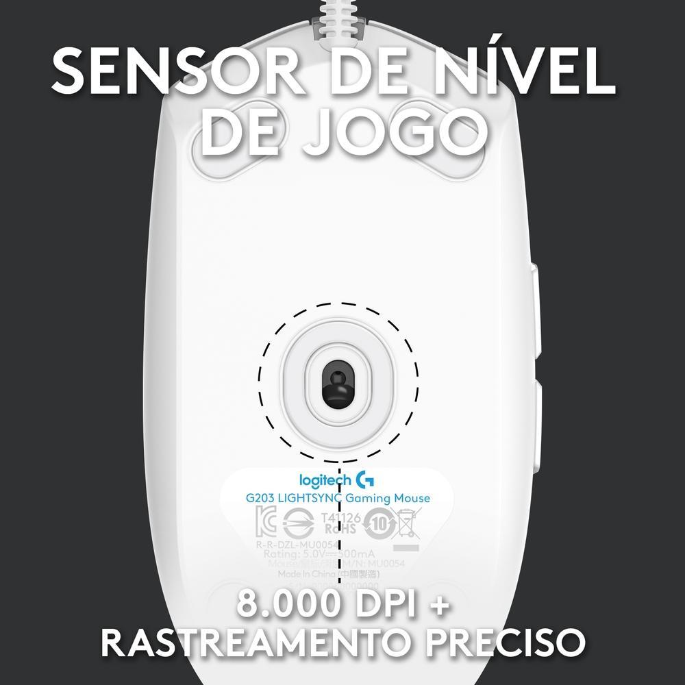 Mouse Gamer Logitech G203 Branco RGB 8000DPI 6 Botões - 910-005794