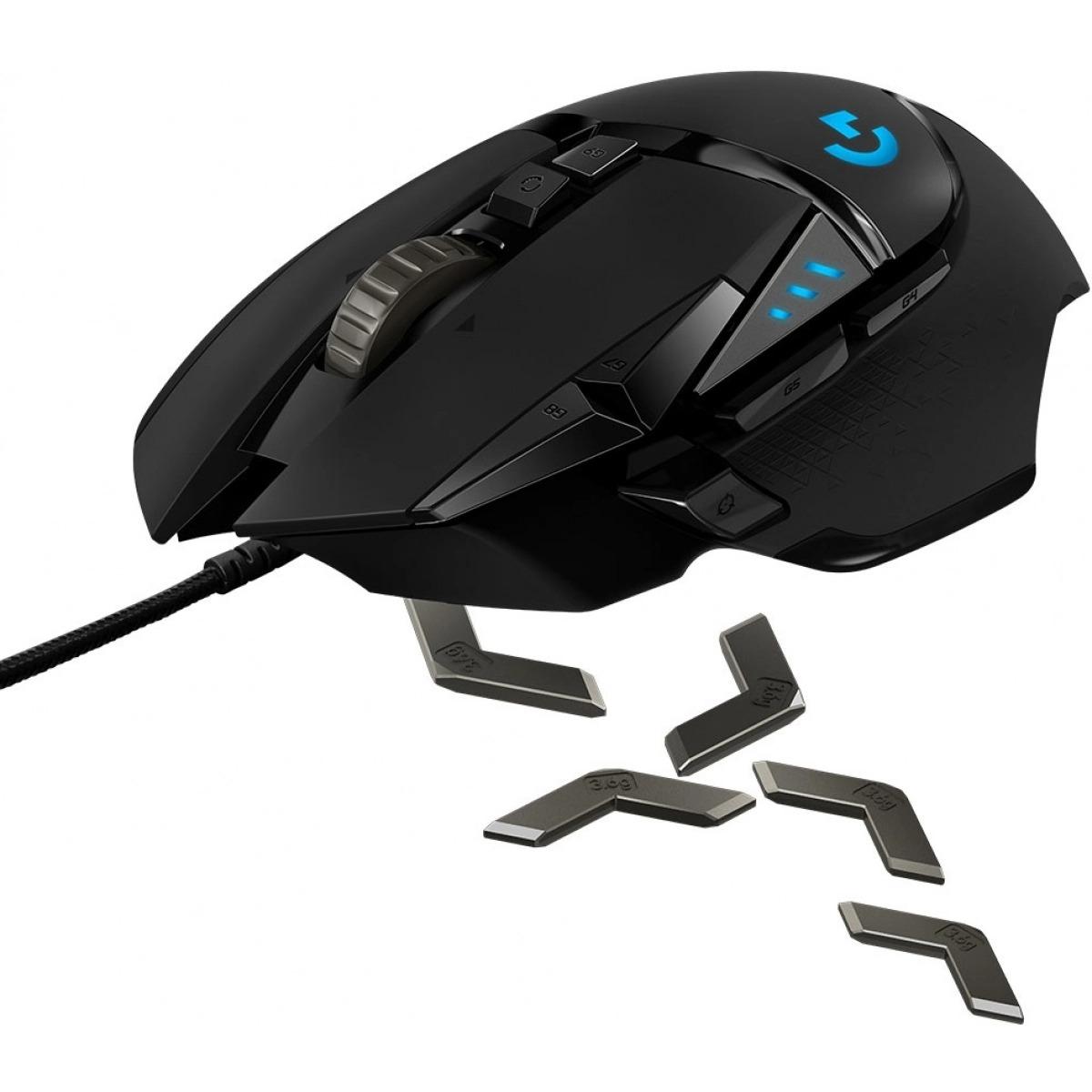 Mouse Gamer Logitech Hero G502, RGB, 11 Botões, 16000 DPI, Ajuste de Peso, Black, 910-005550
