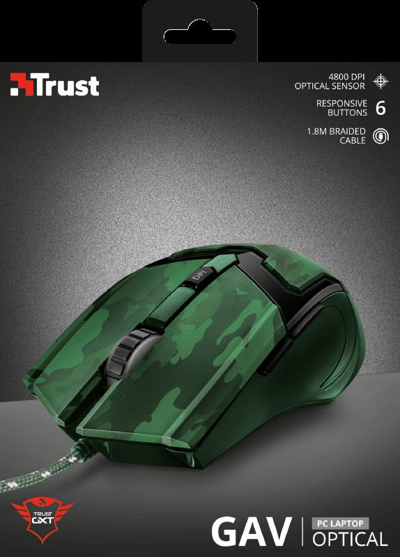 Mouse Gamer Trust GXT 101C Gav 4800Dpi 6 Botões Verde Camuflado - 22793