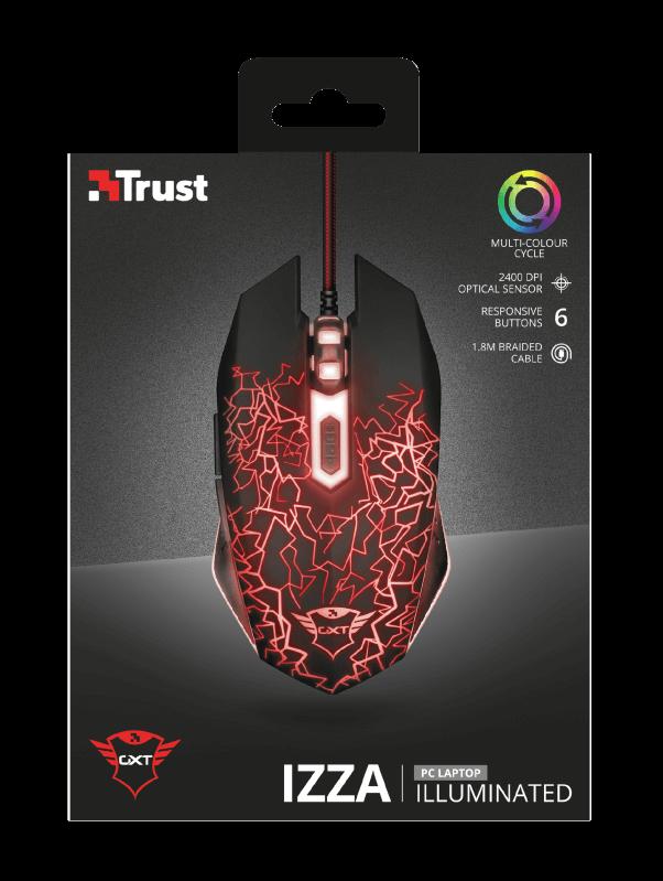 Mouse Gamer Trust GXT 105 Izza Iluminated 6 Botões Preto - 21683