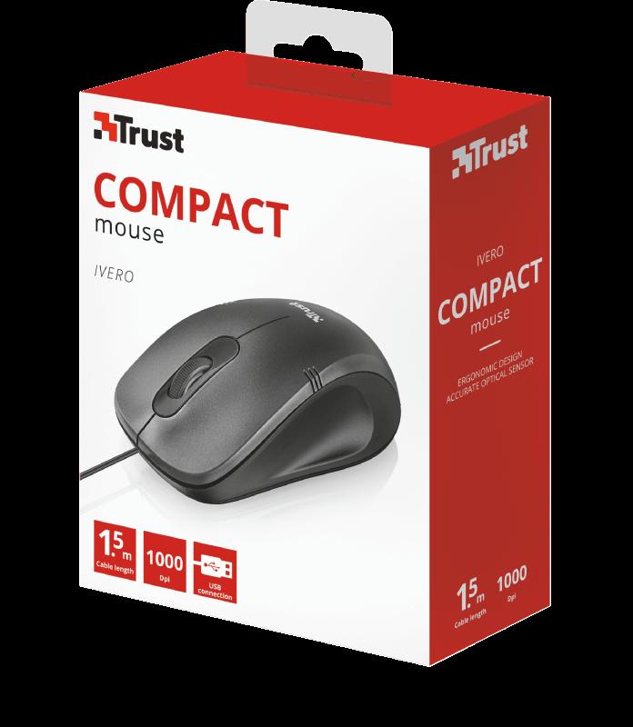 Mouse Trust Ivero Compact Ergonômico 1000 Dpi Preto - 20404