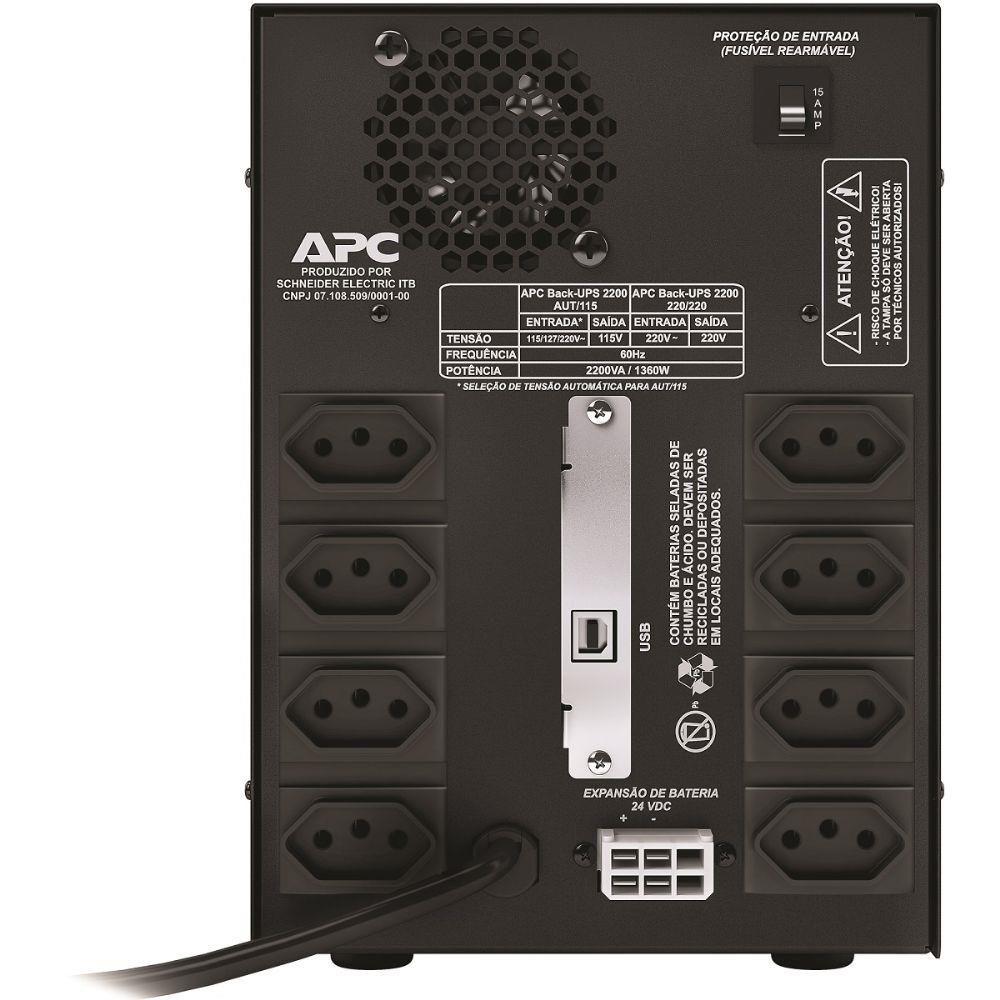 Nobreak APC BACK-UPS 2200VA Mono 220V - BZ2200I-BR