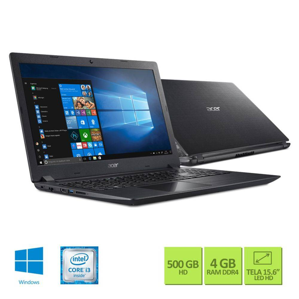 "Notebook ACER A315-51-347W I3 6006U 4GB 500GB 15,6"" W10 Home"