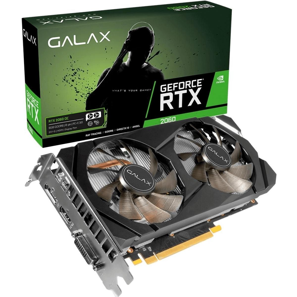 Placa de Vídeo Galax GeForce RTX 2060 1Click OC 6GB GDDR6 192Bit 26NRL7HPX7OC