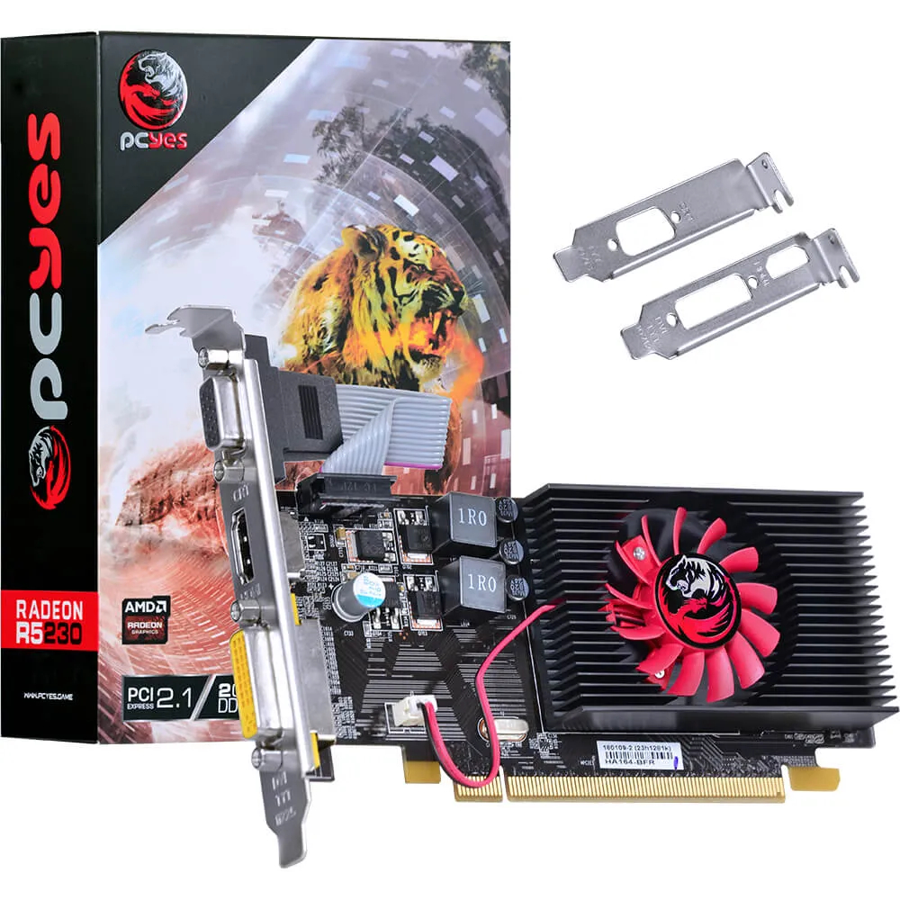 Placa de Video Pcyes AMD Radeon R5 230 DDR3 2GB 64 Bit Low Profile PA230R502D3LW