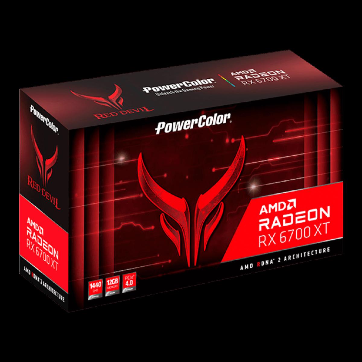 Placa de Vídeo PowerColor Red Devil Radeon RX 6700 XT 12GB GDDR6  - AXRX 6700XT 12GBD6-3DHE/OC